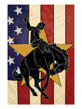 Bronco Bucking and Flag Posters by  Lantern Press