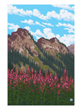 Fireweed and Mountains Posters by  Lantern Press