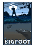 Bigfoot at Night Print by  Lantern Press