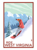 West Virginia - Snowboarder Prints by Lantern Press
