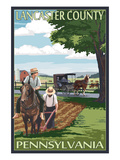 Lancaster County, Pennsylvania - Amish Farm Scene Plakater af Lantern Press