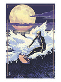 Night Surfer and Moon Posters by  Lantern Press