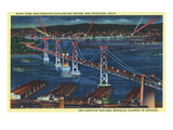 San Francisco, California - Aerial View of Bay Bridge at Night Prints by  Lantern Press
