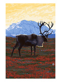 Caribou and Mountain Prints by Lantern Press 