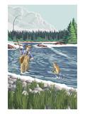 Fisherman in River Prints by  Lantern Press