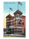 Mankato, Minnesota - Exterior View of Fire Station Art by  Lantern Press