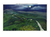 North Carolina - Moonlight Scene on the Picturesque Blue Ridge Parkway Posters by  Lantern Press