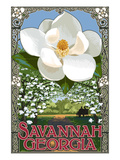 Single White Magnolia - Savannah, Georgia Art by  Lantern Press