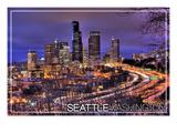Seattle, Washington - Interstate into Downtown Prints by  Lantern Press