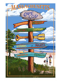 Cape Cod, Massachusetts - Sign Destinations Print by  Lantern Press