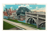 Cleveland, Ohio - High Level Bridge Eastern View Posters by  Lantern Press