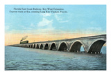 Florida - View of the Key West Extention of the FL East Coast Railroad Prints by  Lantern Press