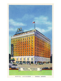 Topeka, Kansas - Exterior View of Hotel Jayhawk Prints by  Lantern Press
