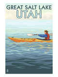 Great Salt Lake, Utah - Kayak Scene Print by  Lantern Press