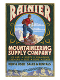 Mount Rainier - Mountaineering Supply Company Print by Lantern Press 