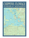 Chippewa Flowage Chart - Sawyer County, Wisconsin Posters by  Lantern Press