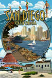 San Diego, California Montage Kunstdruck von  Lantern Press