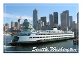 Seattle, Washington - Ferry and Skyline Prints by  Lantern Press