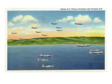 US Army - Boeing B-17 Flying Fortresses, Douglas B-18s in Flight Art by  Lantern Press