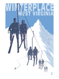 Winterplace, West Virginia - Skiers on Lift Posters by Lantern Press