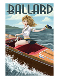 Ballard - Seattle, Washington - Pinup Girl Boating Poster by  Lantern Press