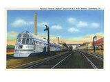 Galesburg, Illinois - Denver Zephyr Train at Station Poster by  Lantern Press
