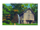 North Carolina - View of a Grist Mill with an Old-Fashioned Water Wheel Prints by  Lantern Press