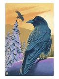 Ravens and Sunset Posters par Lantern Press 