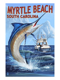 Myrtle Beach, South Carolina - Marlin Fishing Scene Posters by Lantern Press 