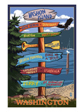 Vashon Island, Washington - Signpost Prints by  Lantern Press