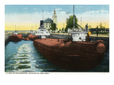 Sault Ste. Marie, Michigan - Whaleback Freighters Locking Up in Poe Lock Prints by  Lantern Press
