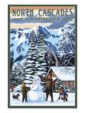 North Cascades, Washington - Snowman Building Posters by  Lantern Press