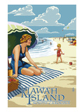 Woman on Beach - Kiawah Island, South Carolina Prints by  Lantern Press