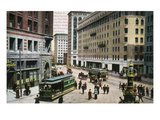San Francisco, California - Market Street View of New Palace Hotel Posters by  Lantern Press