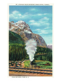Yoho Nat'l Park, British Columbia - Mt. Stephen Train Enters Lower Spiral Tunnel Print by  Lantern Press