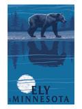Ely, Minnesota - Bear at Night Prints by  Lantern Press