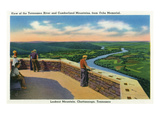 Lookout Mountain, Tennessee - Aerial View of TN River and Cumberland Mts from Ochs Memorial Posters by  Lantern Press