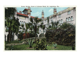 St. Augustine, Florida - Alcazar Hotel Court and Rustic Bridge Prints by  Lantern Press
