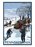 Lancaster County, Pennsylvania - Firewood Winter Scene Poster by  Lantern Press