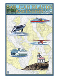 San Juan Islands, Washington - Nautical Chart Prints by Lantern Press 