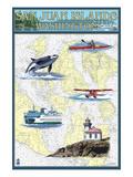San Juan Islands, Washington - Nautical Chart Prints by  Lantern Press