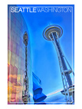Seattle, Washington - Emp and Space Needle Reflection Posters by  Lantern Press