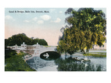 Detroit, Michigan - View of the Canal and Bridge on Belle Isle Prints by  Lantern Press