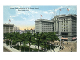 San Diego, California - Plaza Park View of US Grant Hotel Posters by  Lantern Press