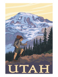 Utah - Mountain Hiker Poster by  Lantern Press