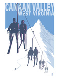 Canaan Valley, West Virginia - Skiers on Lift Print by  Lantern Press