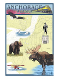 Anchorage, Alaska - Nautical Chart Posters by  Lantern Press