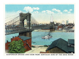 Cincinnati, Ohio - Ohio River, Suspension Bridge View from Kentucky Prints by  Lantern Press