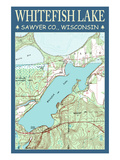 Whitefish Lake Chart - Sawyer County, Wisconsin Prints by  Lantern Press