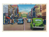 Bristol, Virginia - View of State Street and Bristol, Tennessee Prints by  Lantern Press